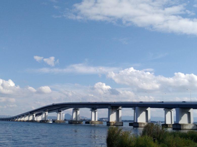 琵琶湖にかかる橋「琵琶湖大橋」「近江大橋」